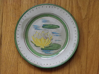 "Vtg 8"" Pottery Plate-""Water Lily""-Stangl Pottery-Yellow & Green Lily"