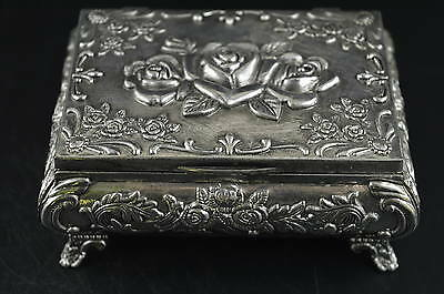 China Decorated Wonderful Miao Silver Carving Flower Rare Delicate Jewel Box