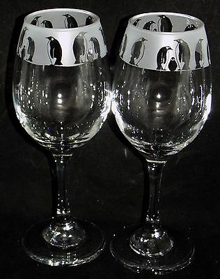 New Beautiful Pair of Wine Glasses - 'Penguin' Wine Glasses - Can be gift boxed