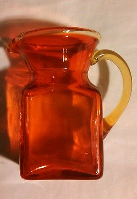 Vintage Blenko Or Kanawha Glass Red Amber Amberina Blown Glass Square Pitcher