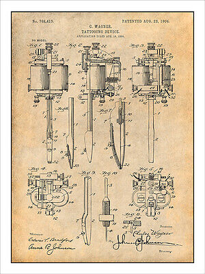 1929 Electric Tattooing Device Patent Print Art Drawing Poster 18X24