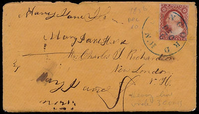 vm59 USA Cover w/ #11A Plt 5l Brownish Carmine Concord NH   New London NH 1856