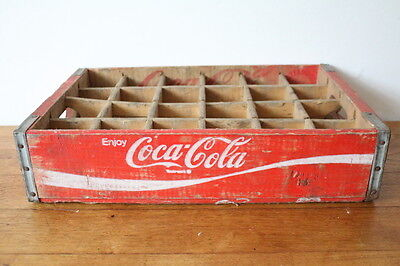 Vintage red Coca Cola wooden soda crate