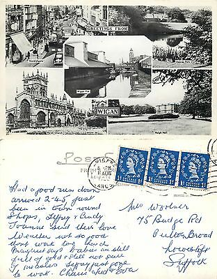 s09688 Wigan, Lancashire, England RP postcard posted 1965 stamp
