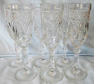 Crystal Cristal d'Arques Durand Antique Clear Fluted Champagne Glasses set of 6