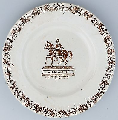 Antique Pottery : RARE Staffordshire William III No Surrender political Plate