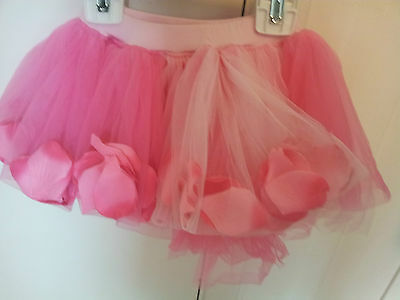 Girls-Size-4-Tutu-Pink-Rose-Petals-in-Skirt-Multi-Layered-Dance-Pretend-Play