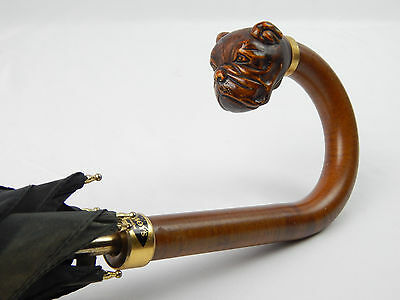 Vintage Comoy's of London Umbrella w/ Hand Carved Wooden Bulldog Handle Works
