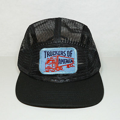 Truckers of America Vintage Patch on New Hat - Black All Mesh 5 Panel Strapback