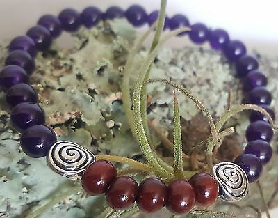 Rose Wood Silver Celtic Spiral Amethyst Purple Gemstone Beaded Stretch Bracelet