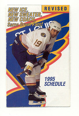 1995 - 96 St Louis Blues Hockey Schedule ******* Free Shipping *****