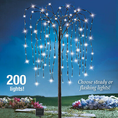4 Ft. Solar 200 White LED Weeping Willow Branch Tree Christmas Yard Decoration