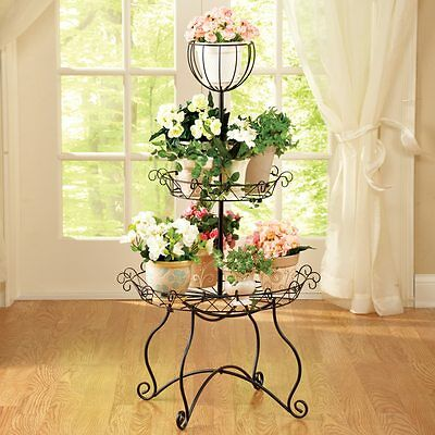 Elegant 3-Tier Metal Scroll Indoor/Outdoor Plant Stand