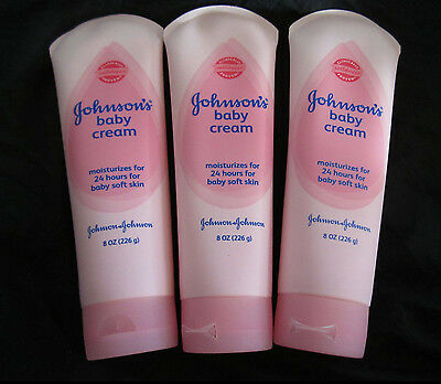 Set Of 3 Johnson's  Baby Cream 8oz Pink Tube New Sealed  (Discontinued)