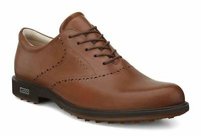 ECCO Mens Tour Hybrid Wing Tip Whisky/Orange Waterproof Leather Golf Shoes