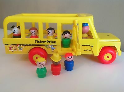 VTG Fisher Price Little People School Bus1984 complete #192 w/correct 7 Figures
