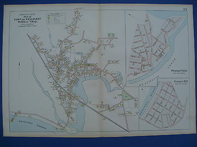 Original 1910 Map of Wellfleet Cape Cod MA Barnstable County by George Walker