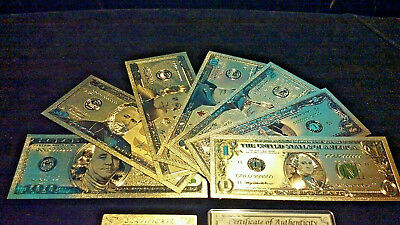 COMPLETE MINT SET $1,2,5,10,20,50,$100 BANKNOTE Rep.*W/COA+SILVER Bar FREE S&H!