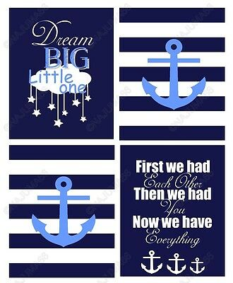 Nursery Baby Decor 8x10 Wall Art Print Lot (Set of 4) Navy Blue Nautical Anchors