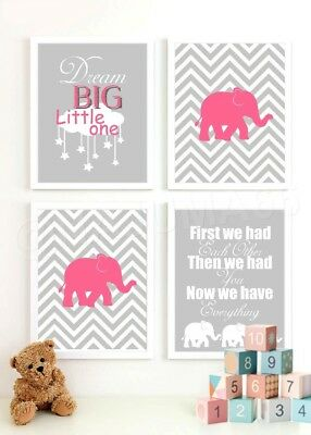 Nursery Baby Decor 8x10 Wall Art Prints (Lot of 4) Gray & Pink Chevron Elephants