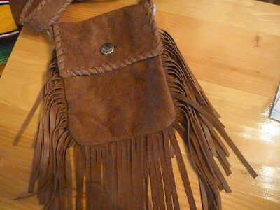 Brown leather fringed Braided bag, purse