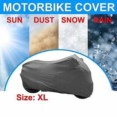 New Large Motorcycle Waterproof Outdoor Motorbike Rain Vented Sun Cover Silver