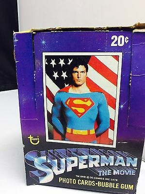 Vintage Superman the Movie Trading Card Box and Stack of Wrappers 1978 Topps