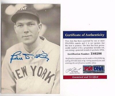 Bill Dickey Autographed New York Yankees HOFer Baseball Postcard Photo PSA COA
