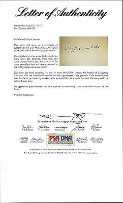 Muhammad Ali Heavyweight Champ Boxing Autographed 3x5 Card PSA Full Letter