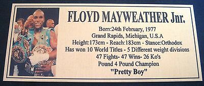 "FLOYD MAYWEATHER JUNIOR Boxing Champions Gold  Photo Plaque ""FREE POSTAGE"""