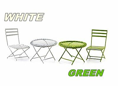 CHOICE of GREEN or WHITE 2 pc MINIATURE MESH TABLE & WIRE CHAIR SET FAIRY GARDEN
