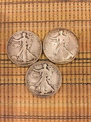 Lot Of Four Walking Liberty Silver Half Dollars