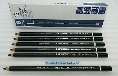 6 x Black Staedtler Glasochrom Chinagraph Lumo Pencil free post