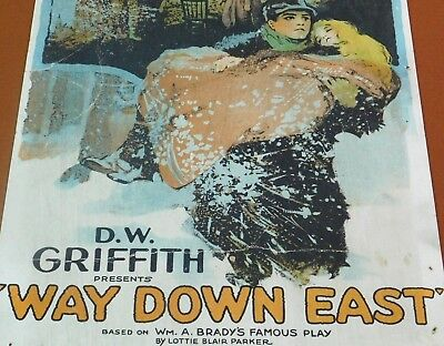 WAY DOWN EAST Rare 1920 D W Griffith Silent Film WINDOW CARD Lillian Gish Poster