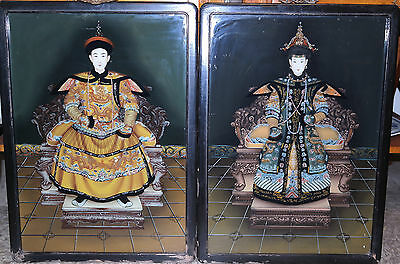 Chinese Pair of Reverse Glass Paintings Emperor & Empress Circa 1920s