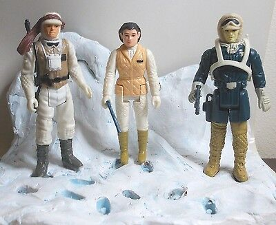 Vintage Star Wars Rebel Hoth Figures x3 , luke , leia & solo (IRH3)