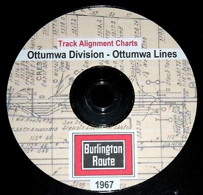 CB & Q RR Burlington Route1967 Ottumwa Lines Track Chart PDF Pages on DVD