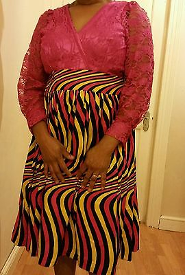 Size 16 ladies multicoloured African print & lace dress.