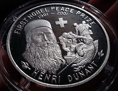 2001 Korea, 5 Won, First Nobel Peace Prize, Henry Dunant, Silver 999 Scarce !!