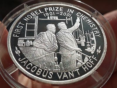 2001 Korea, 5 Won, First Nobel Prize in Chemistry, Silver 999 Scarce !!