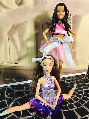 Lot of 2 Barbie 12 Dancing Princesses Ballerina Dolls (AA) Articulated