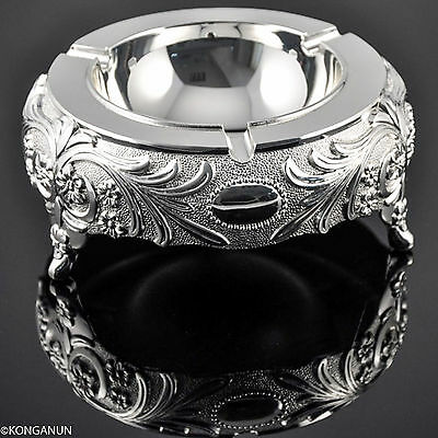 silver Finish metal  Ash Tray with 3 Cigeratte Holder Hotel Room Tableware