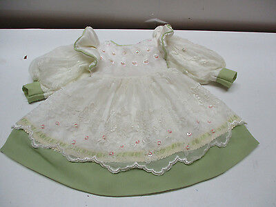 "Green Rayon Victorian Style Doll Dress FOR Vintage Antique / China 20""- 24"" DOLL"