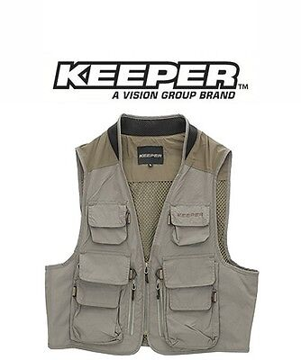 Vision Keeper Brown Lightweight 12 POCKET fly fishing vest