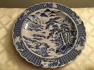 Large Asian Plate (Vintage Antique Chinese China Japan Platter Bowl Blue Willow)