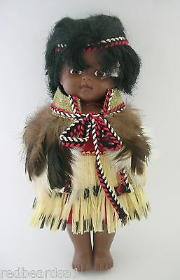 Vintage Maori Girl Rubber Doll Traditional Dress Feather Cloak h26cm