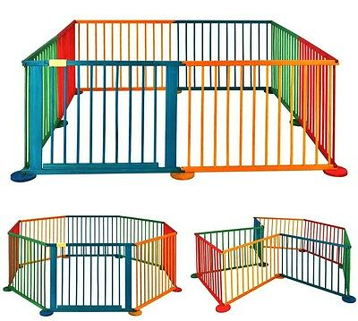 Baby Playpen Wooden Coloured 8 Panel for Babies Room Divider Large Play Pen