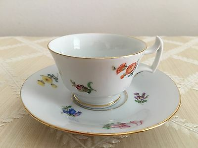 Small Meissen Cup and Saucer ( Germany Floral Porcelain China Demitasse Plate )