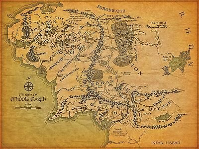 Middle Earth Map Poster 2 - Various Sizes - + Free Surprise A3 Poster  / Hobbit