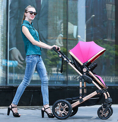 Baby Travel System Pram Newborn Stroller & Bassinet Jogger 8 in 1 Fold Pushchair